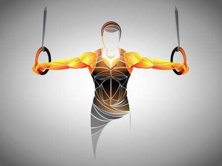 Adulto joven musculoso haciendo ejercicio intenso en anillos de gimnasia. fitness, deportes