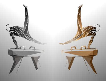 gymnast pommel horse Stock Illustratie