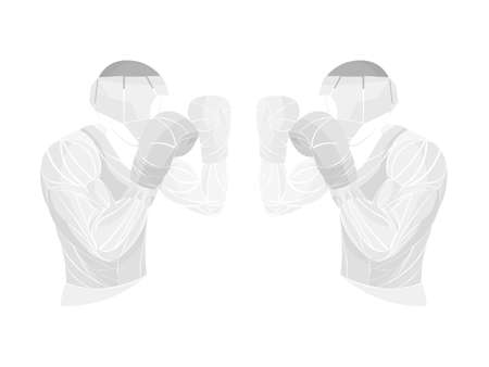 Boxing vector illustration. Boxer silhouette. Athletes image composed of particles.