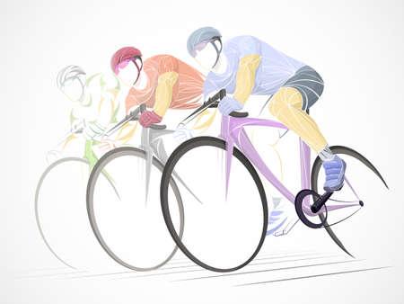 Thème du cyclisme, silhouette vecteur rayé du cycliste sur route