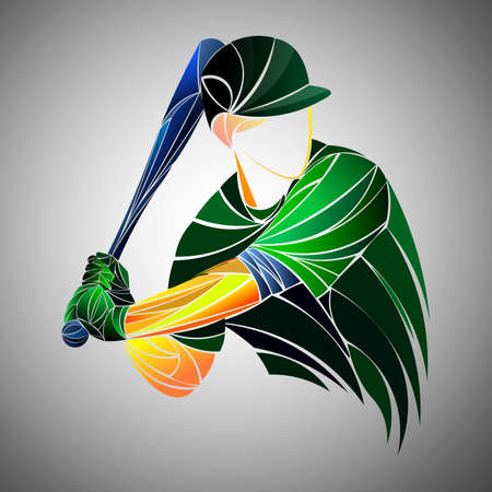 Vector illustration of a baseball player hitting the ball. Beautiful sport themed poster. Abstract background, summer sports, team game Ilustracja