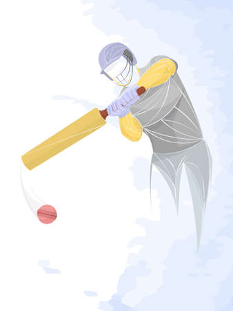 Vector illustration of a baseball player hitting the ball. Beautiful sport themed poster. Abstract background, summer sports, team game Illustration
