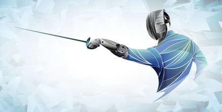 Schermer. Man met schermen pak oefenen met zwaard. Sportarena en fakkels. Neon effect. Vector illustratie. Vector Illustratie