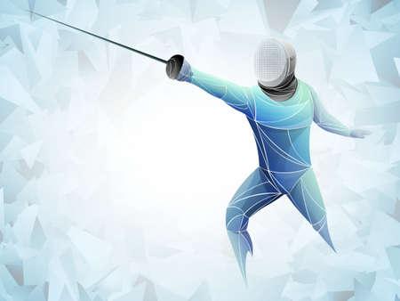 Escrimeur. Homme portant un costume d'escrime pratiquant avec l'épée. Arène de sport et fusées éclairantes. Effet néon. Illustration vectorielle.