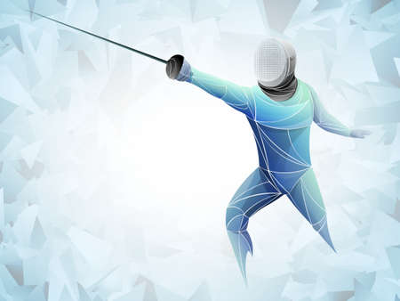 Fencer. Man wearing fencing suit practicing with sword. Sports arena and lense-flares. Neon effect. Vector illustration.