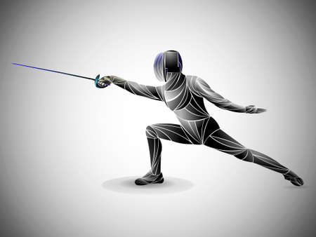 Fencer. Man wearing fencing suit practicing with sword. Sports arena and lense-flares. Neon effect. Vector illustration. 일러스트