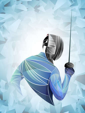 Fencer. Man wearing fencing suit practicing with sword. Sports arena and lense-flares. Neon effect. Vector illustration. Vettoriali