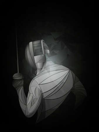 Schermer. Man met schermen pak oefenen met zwaard. Sportarena en fakkels. Neon effect. Vector illustratie.
