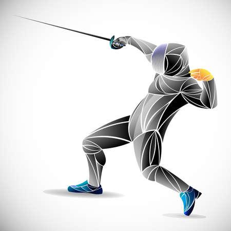 Escrimeur. Homme portant un costume d'escrime pratiquant avec l'épée. Arène de sport et fusées éclairantes. Effet néon. Illustration vectorielle. Vecteurs