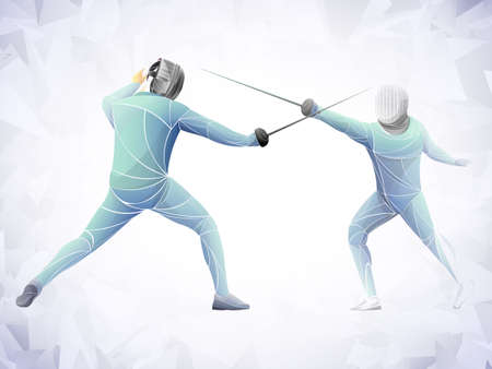 Fencer. Man wearing fencing suit practicing with sword. Sports arena and lense-flares. Neon effect. Vector illustration. Archivio Fotografico - 110314801