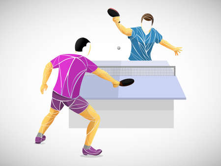 table tennis, ping pong, table tennis, Player, athlete, game, vector  イラスト・ベクター素材
