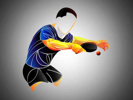 tenis de mesa, ping pong, tenis de mesa, jugador, atleta, juego, vector Ilustración de vector