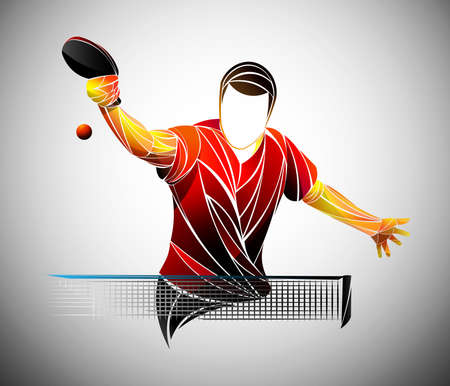 table tennis, ping pong, table tennis, Player, athlete, game, vector Çizim
