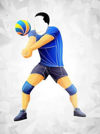 Jugador de voleibol abstracto, deportes de voleibol estilizado, vector geométrico