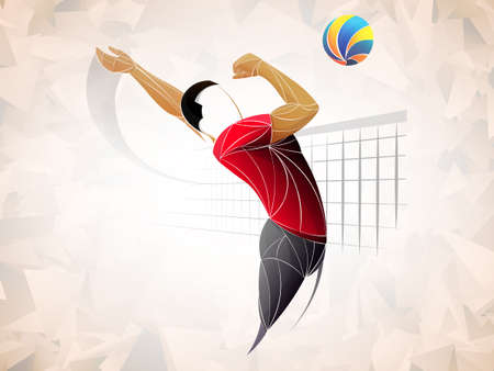 Abstract volleyball player, volleyball sports stylized, geometric vector Vectores