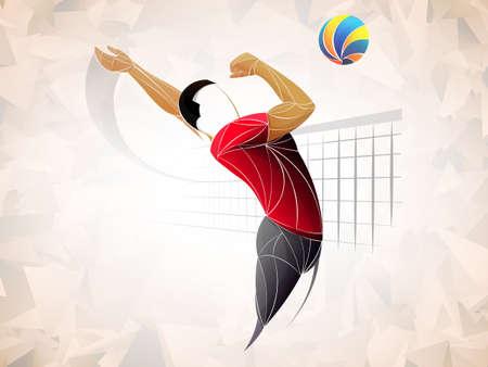Abstracte volleyballer, volleybal sport gestileerd, geometrische vector