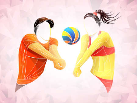Abstract volleyball player, volleyball sports stylized, geometric vector Stock Illustratie