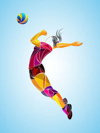 Abstract volleyball player, volleyball sports stylized, geometric vector Çizim