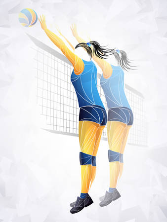 Abstract volleyball player, volleyball sports stylized, geometric vector Illustration