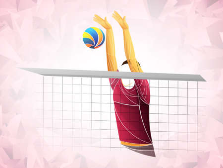 Abstract volleyball player, volleyball sports stylized, geometric vector 矢量图像