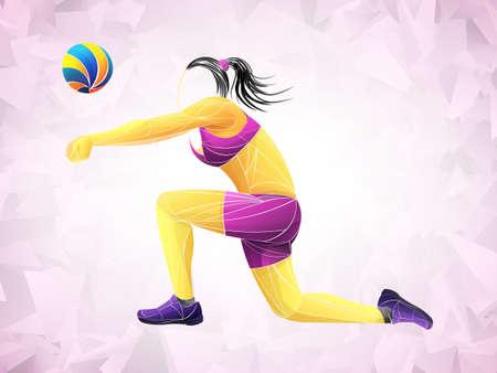 Giocatore di pallavolo astratto, sport di pallavolo stilizzato, vettore geometrico