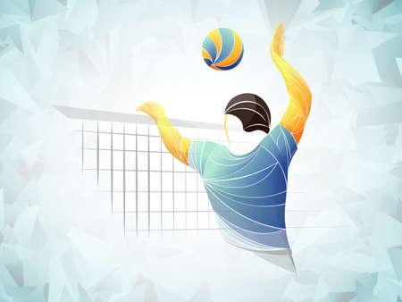 Jugador de voleibol abstracto, deportes de voleibol estilizado, vector geométrico Ilustración de vector