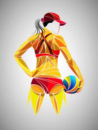 Giocatore di pallavolo astratto, sport di pallavolo stilizzato, vettore geometrico Vettoriali