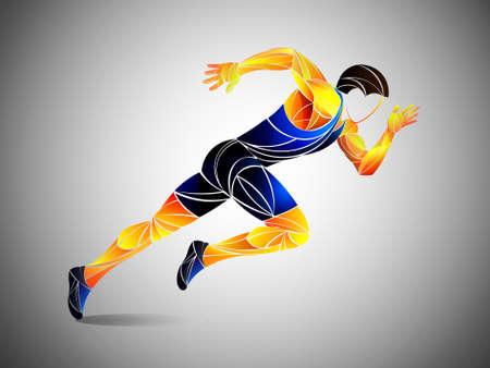 Runner, jogging, sprinter. Athlete vector, train running, running status, running man, live running status