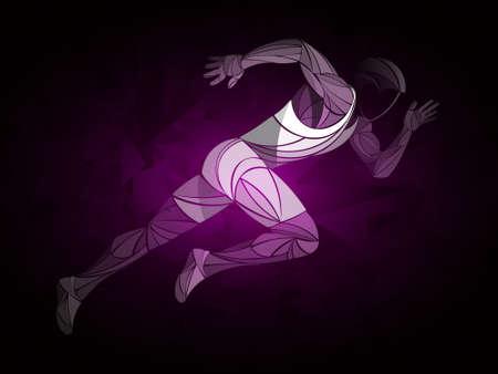 Läufer, Joggen, Sprinter. Sportlervektor, Zuglauf, Laufstatus, laufender Mann, Live-Laufstatus