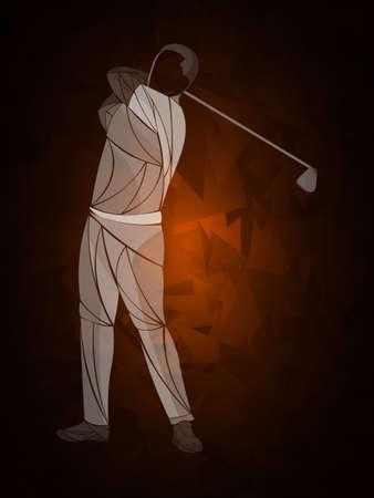 Golf player, abstract vector silhouette Ilustração