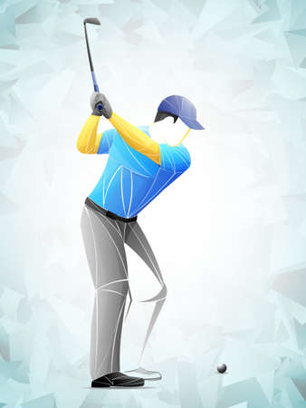 Golf player, abstract vector silhouette, golf sport player stylized, geometric vector