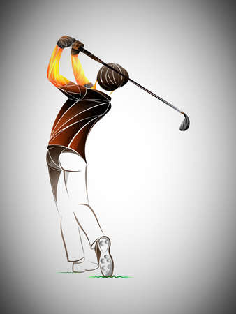 Golfer player, athlete. Golfer on golf course Illustration