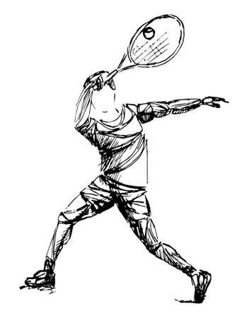 Black sketch athlete, tennis player vector
