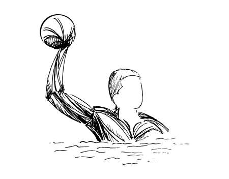 stylized sketch of water polo illustration of a water polo player throwing ball set