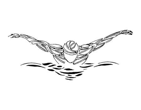 Silueta negra de nadador de estilo libre. Vector de nadadores están nadando en la piscina