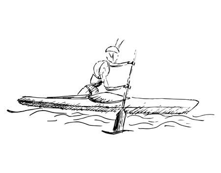 Stylized, geometric rowing, boating, canoeing, paddle, row vector Illustration