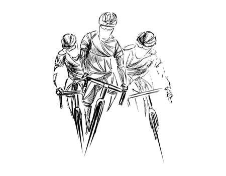 Ciclista estilizado, geométrico, boceto ciclista aislado. Deportista, vector de ilustración de silueta de atleta.