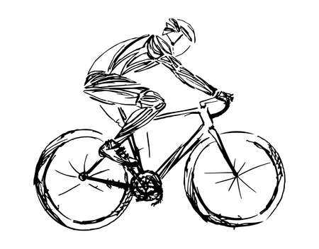 Stylized, geometric bicyclist, cyclist sketch isolated. Sportsman, athlete silhouette illustration vector. Illustration