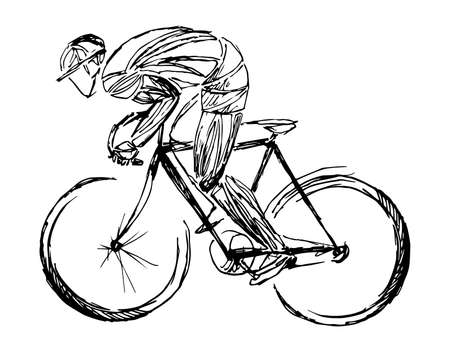 Stylized, geometric bicyclist, cyclist sketch isolated. Sportsman, athlete silhouette illustration vector. Фото со стока - 138426874