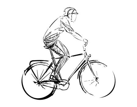 Stylized, geometric bicyclist, cyclist sketch isolated. Sportsman, athlete silhouette illustration vector. Archivio Fotografico - 138426875