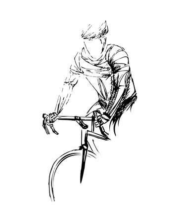 Stylized, geometric bicyclist, cyclist sketch isolated. Sportsman, athlete silhouette illustration vector. Фото со стока - 138426882