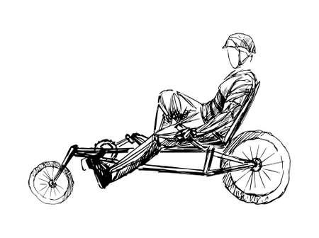 Stylizowane, geometryczne rowerzysta, rowerzysta szkic na białym tle. Sportowiec, sportowiec sylwetka wektor.