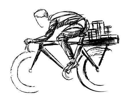 Stylized, geometric bicyclist, cyclist sketch isolated. Sportsman, athlete silhouette illustration vector. Archivio Fotografico - 138426885