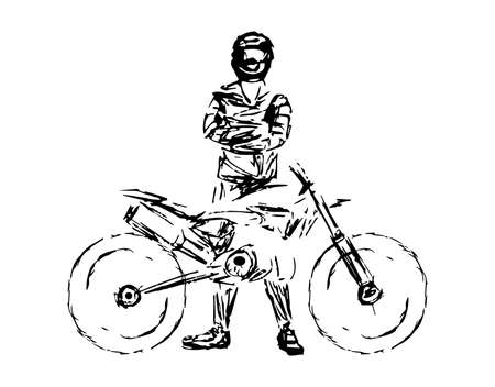 A stylized, geometric motorcycle vector. Motocross rider creates a huge cloud of dust. motorbike on the forest road riding. having fun driving the empty road. Illustration