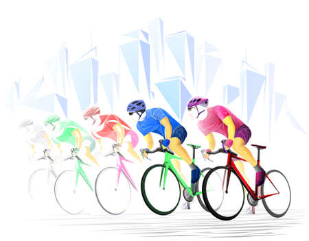 Stylized, geometric ,cycle, bicyclist, cyclist isolated. Sportsman, athlete silhouette illustration vector.