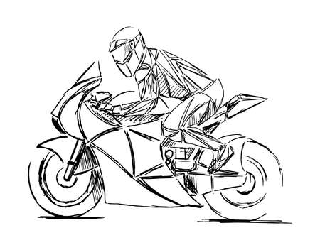 Ein stilisierter, geometrischer Motorradvektor. Motocross-Fahrer erzeugt eine riesige Staubwolke. Motorrad auf der Forststraße reiten. Viel Spaß beim Fahren auf der leeren Straße.