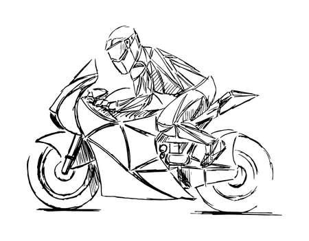 Un vettore di moto stilizzato e geometrico. Il pilota di motocross crea un'enorme nuvola di polvere. moto sulla strada forestale. divertendosi a guidare la strada vuota.