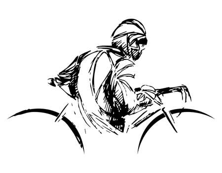 the burglar bike. Thief stealing a bike vector Illustration