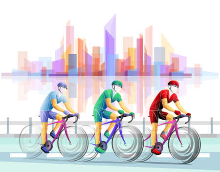 Stylized, geometric ,cycle, bicyclist, cyclist isolated. Sportsman, athlete silhouette illustration vector. Banque d'images - 138237367