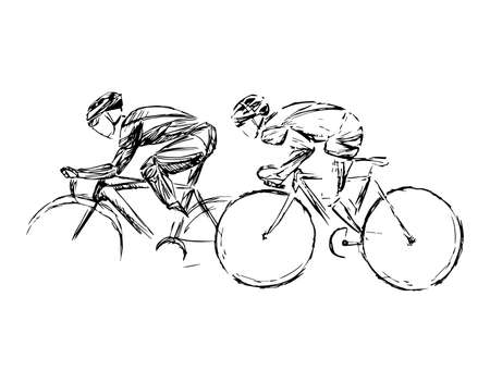 Stylized, geometric bicyclist, cyclist sketch isolated. Sportsman, athlete silhouette illustration vector. 向量圖像